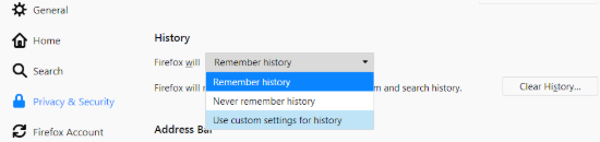 Mozilla Firefox: Use custom settings for history