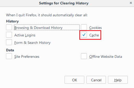 Mozilla Firefox: clearing History window