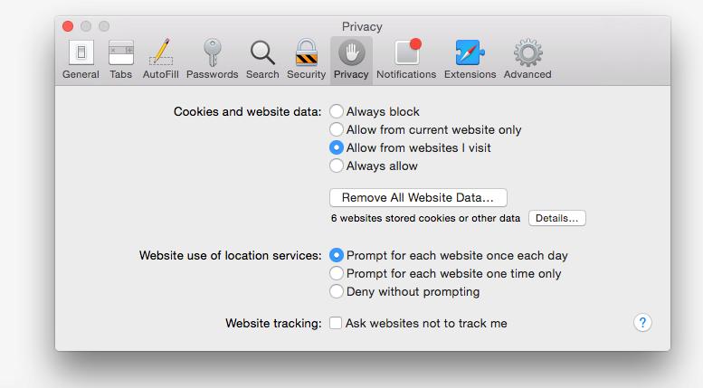Safari: privacy tab