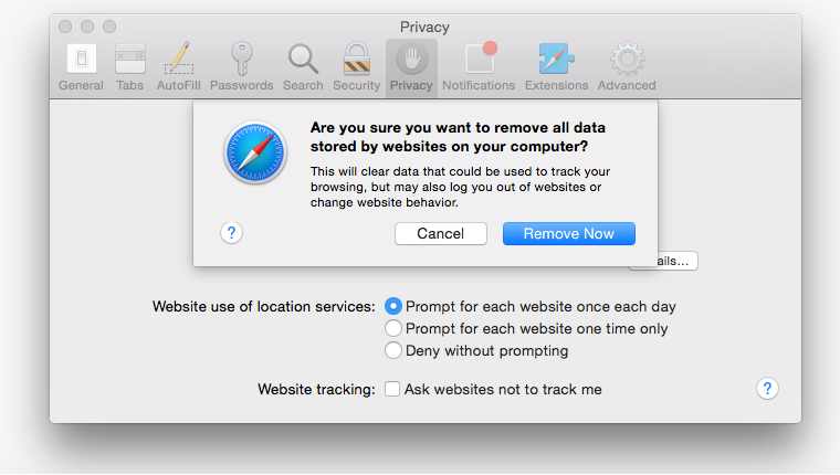 Safari: remove all websites