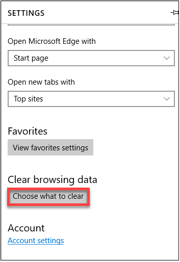 Microsoft Edge: Choose what to clear