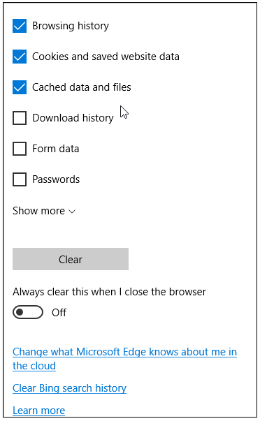 Microsoft Edge: Click on Clear